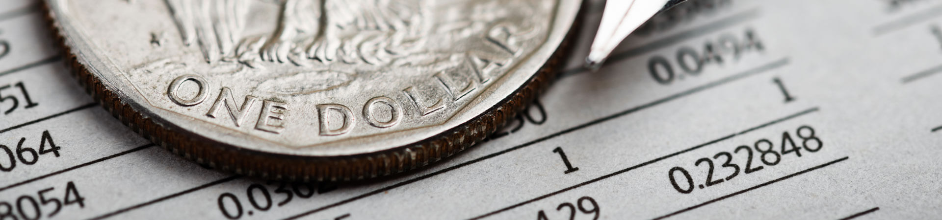 Picture of a balance sheet with numbers and a one dollar coin. Website Banner